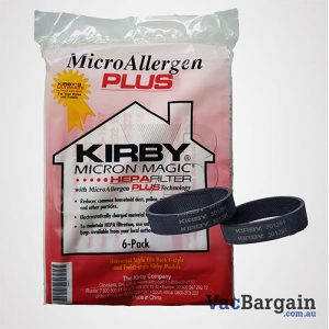 Two Genuine Kirby Belts plus Genuine Kirby's Ultimate Filtration Bags, MICRON ALLERGEN PLUS